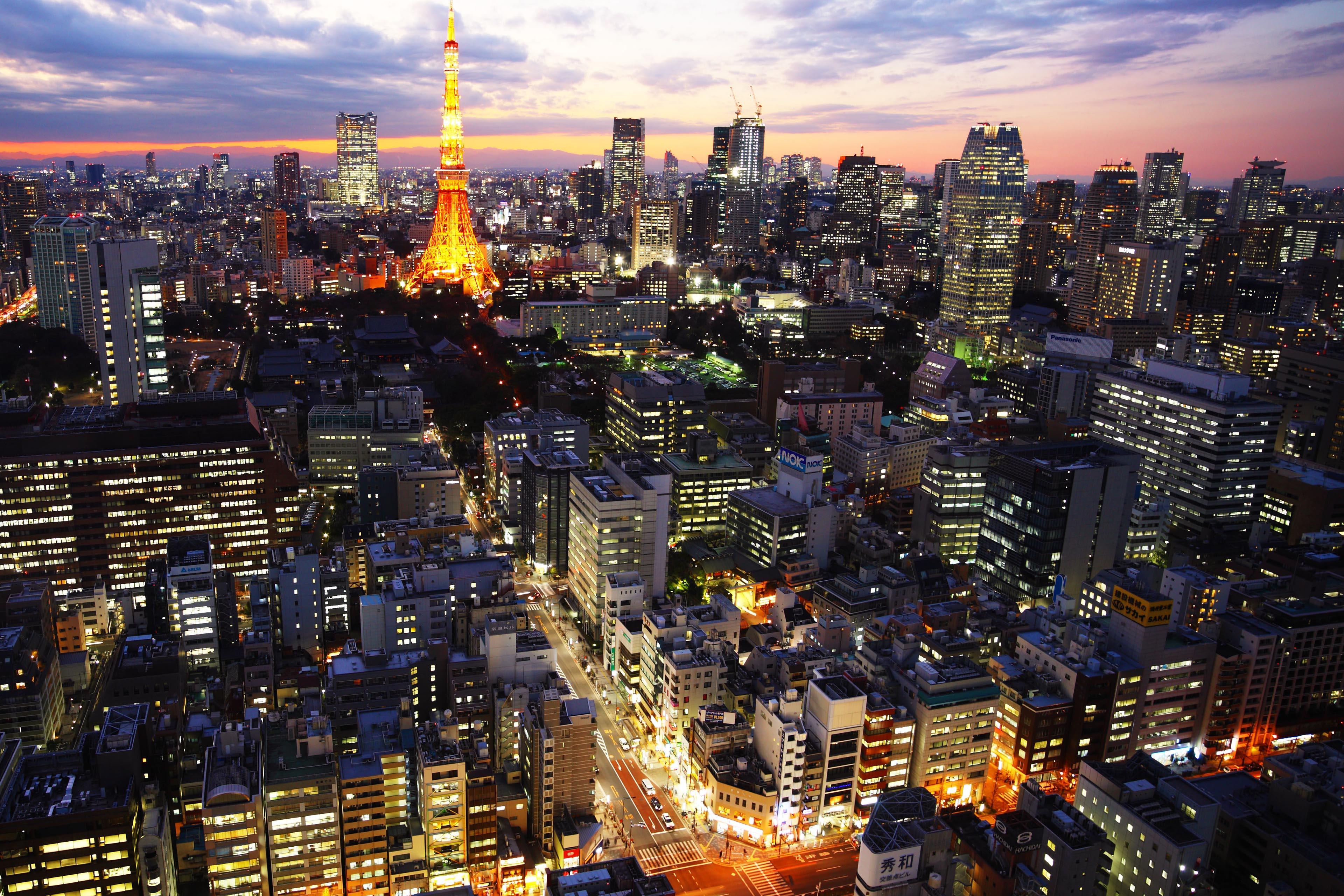 Vista nocturna de Tokio con la Torre de Tokio